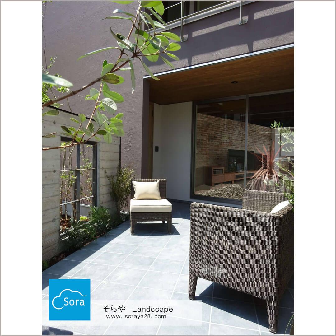 玄関ポーチ過ごす庭 #そらやLandscape#広島県福山市